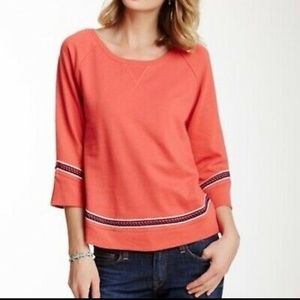 Lucky Lotus Embroidered Eyelet Cut Out Sweatshirt